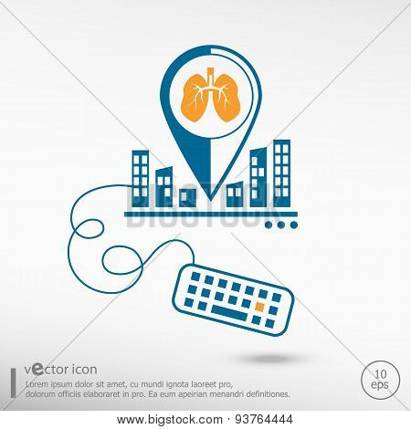 Lung Icon And Keyboard