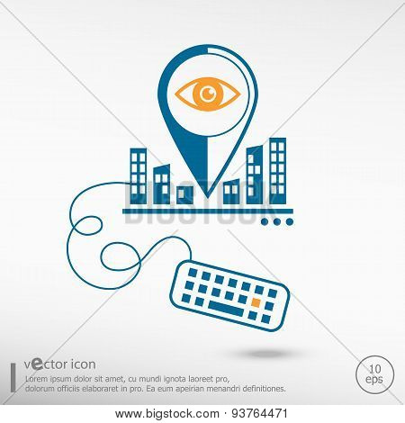 Eye  Icon And Keyboard