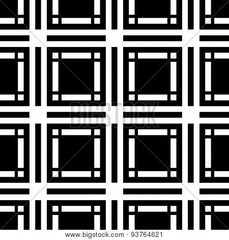 Black And White Geometric Seamless Pattern With Square And Rectangle, Abstract Background.