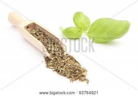 Heap Of Fresh Basil On Wooden Spoon And Green Leaves. White Background