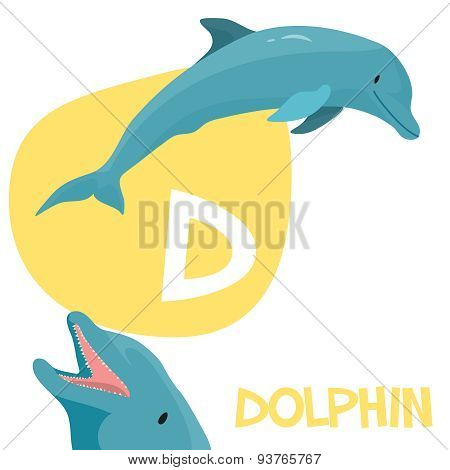 Funny cartoon animals vector alphabet letter set for kids D is dolphin