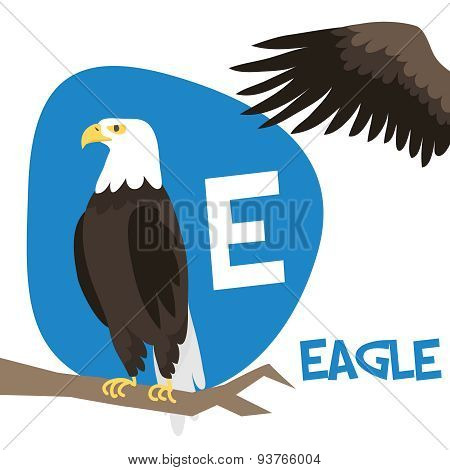 Funny cartoon animals vector alphabet letter set for kids. E is Eagle.
