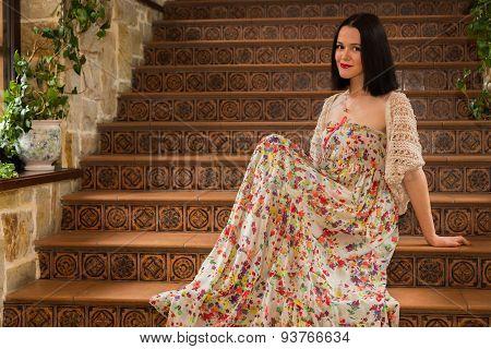 Portrait of a girl in a beautiful dress