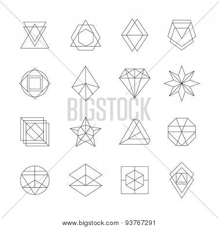 Set of hipster icons, geometric logotypes