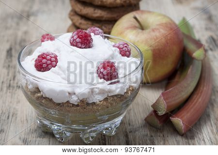 Desert From Rhubarb, Apples, Crumbs  Oatmeal Cookies  , Whipped Cottage Cheese And Raspberry.