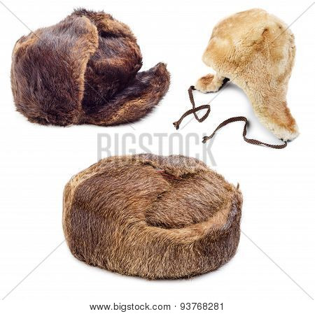 Fur Hats isolated on white background