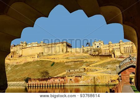 Amber Fort Near Jaipur City In India Seen Through The Arch. Rajasthan