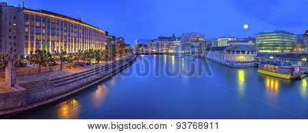 Urban view with famous fountain and Rhone river, Geneva, Switzer