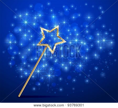 Sparkle Magic Wand On Blue Background