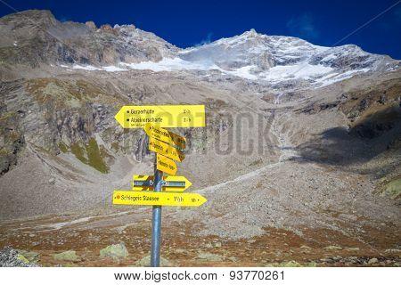 Signpost Zillertal Alps