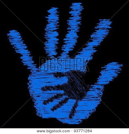 Concept or conceptual cute drawing paint hands of mother and child isolated on black background