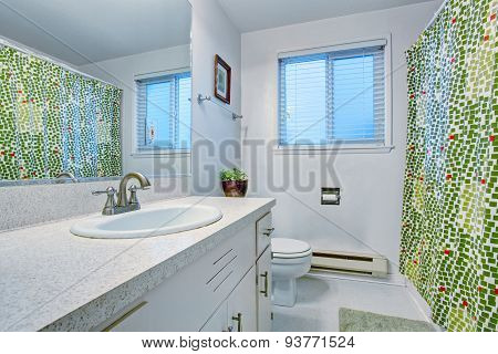 Nice Bathroom With Big Mirror.