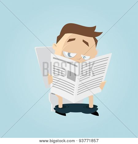 funny cartoon man is reading newspaper on toilet