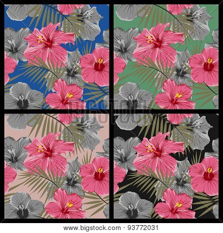 Set of tropical floral seamless patterns