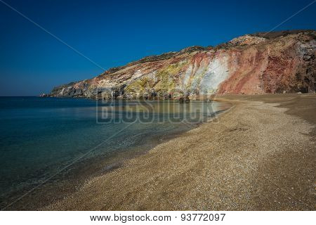 Unusual Vivid Colors Of Palepchori Beach, Milos, Greece
