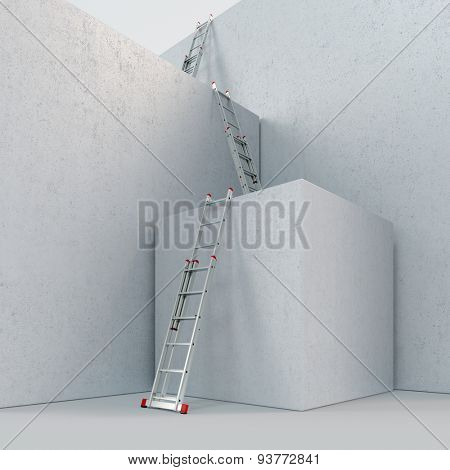 Way to success with many ladders on concrete boxes (3D Rendering)