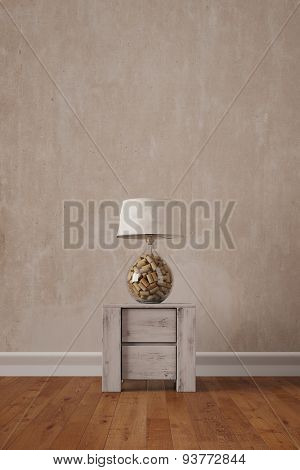 Lamp with cork on side table in living room in front of a wall (3D Rendering)