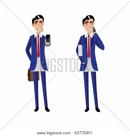 Two businessmen with mobile phones