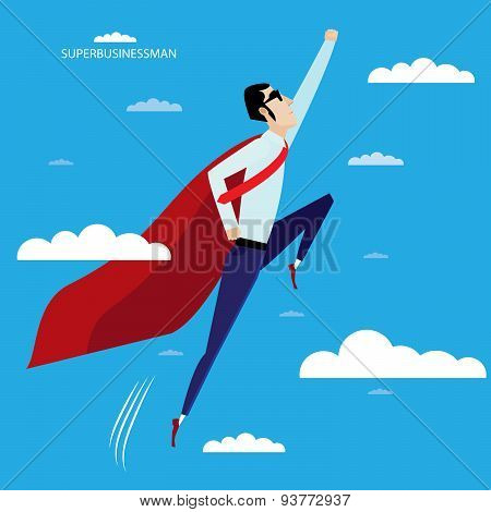 Superhero businessman flying in sky