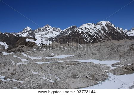 View Of Ngozumba Glacier And Gokyo Ri