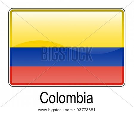 colombia official flag, button flag