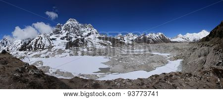 View Of Ngozumba Glacier, Phari Lapcha, Gokyo Ri And Cho Oyu
