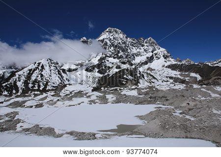Frozen Lakes On Ngozumba Glacier And Phari Lapcha