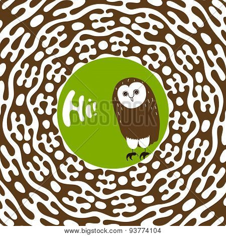 Greeting Card Design Template. Hand-drawn Cute Animal Character Illustration. Owl Saying Hi