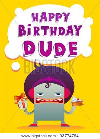 Birthday greeting card in modern youth style