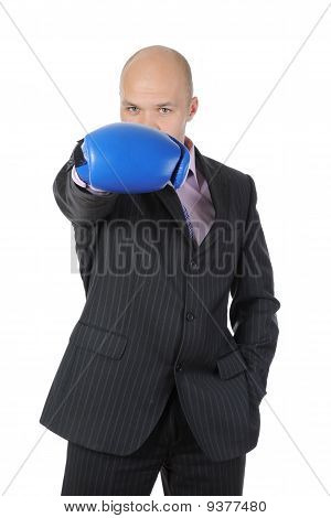 Man With Boxing Gloves Raised His Hand.