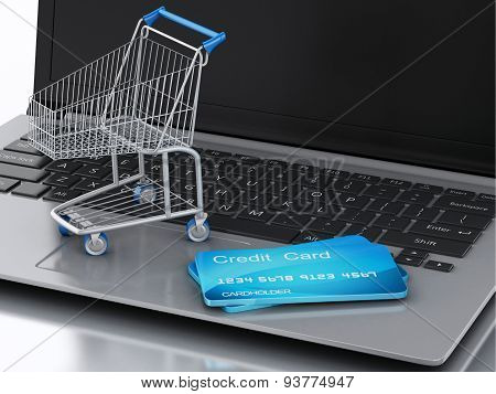 3D Laptop With Shopping Cart And Credit Card