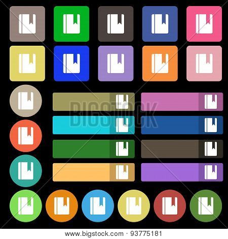 Book Bookmark  Icon Sign. Set From Twenty Seven Multicolored Flat Buttons. Vector