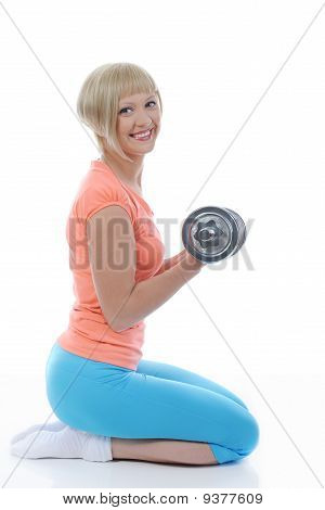 Young Girl Athlete Dumbbell.