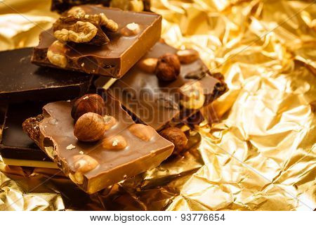 Different Sorts Chocolate And Hazelnuts