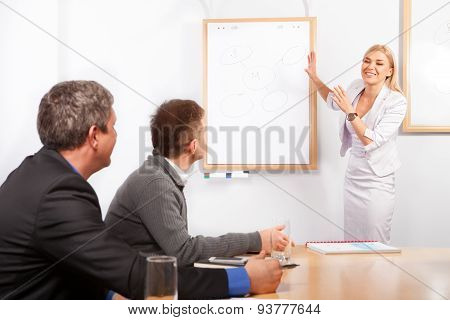 Giving presentation young woman pointing flip chart