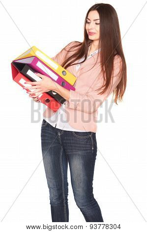 Office lady with file folders, isolated on white