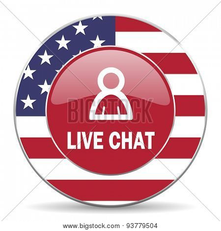live chat american icon original modern design for web and mobile app on white background