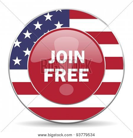 join free american icon original modern design for web and mobile app on white background