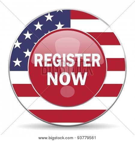 register now american icon original modern design for web and mobile app on white background