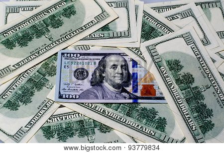 Franklin On A Pile Of Money As A Background