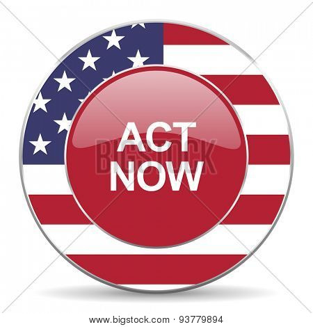 act now american icon original modern design for web and mobile app on white background