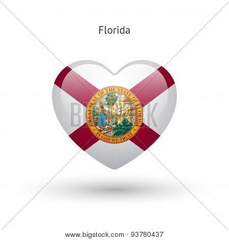 Love Florida state symbol. Heart flag icon.