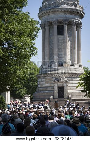 NEW YORK - MAY 25 2015: Secretary of the Navy (SECNAV) Ray Mabus speaking to the audience during the Memorial Day service held at the historic Soldiers and Sailors Monument during Fleet Week NY 2015.