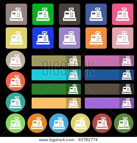 Cash Register  Icon Sign. Set From Twenty Seven Multicolored Flat Buttons. Vector