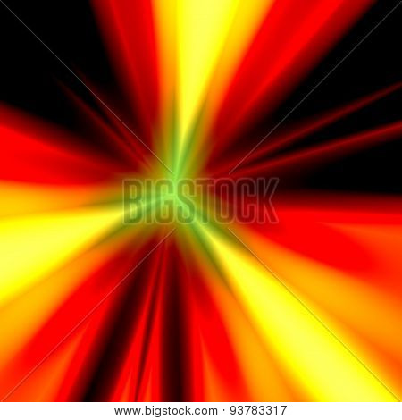 Abstract orange light illustration. Warp speed future technology. Exploding bomb. Warm background.