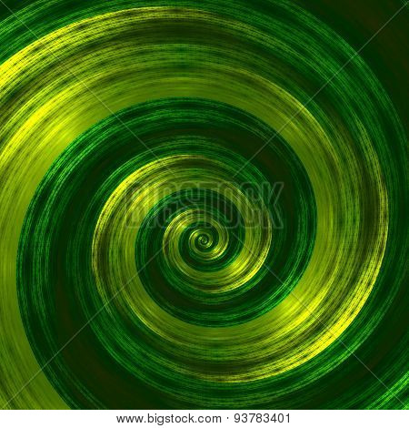Creative abstract green spiral artwork. Beautiful background illustration. Monochrome fractal image.