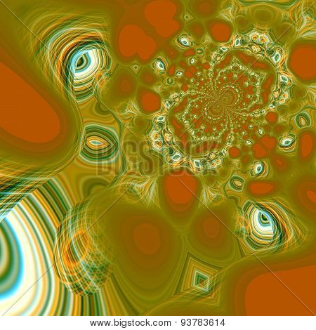 Abstract psychedelic background. Peculiar patterns. Modern art concept. Green color.