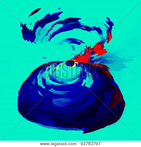Abstract exploding volcano. Art illustration background. Graphic design element. Isolated image.