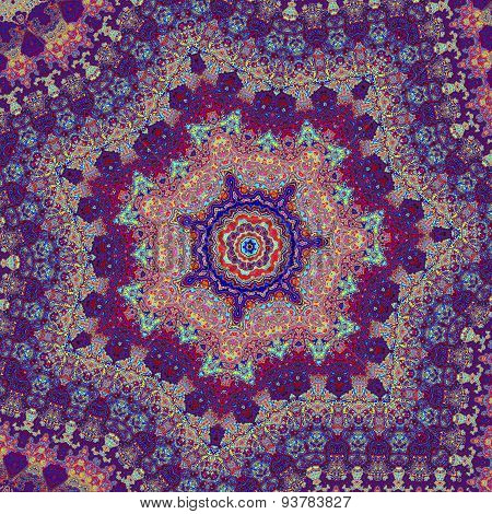 Kaleidoscopic art illustration. Artsy psychedelic pattern design. Image concept. Detail picture.