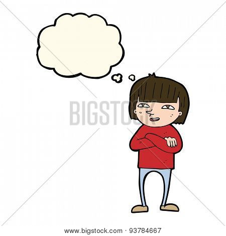 cartoon happy person with thought bubble